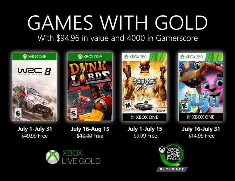 Nouveaux jeux avec Gold pour juillet 2020