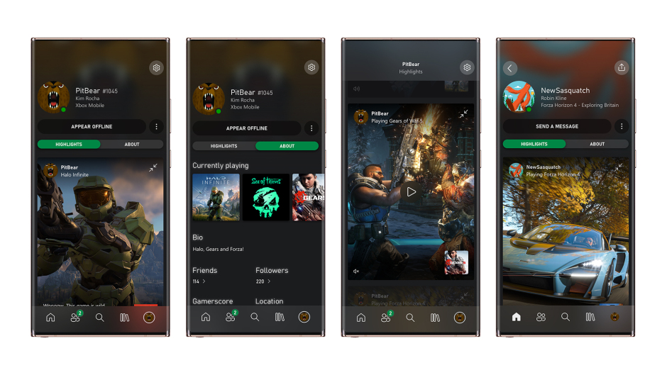 Profils d'applications mobiles Xbox