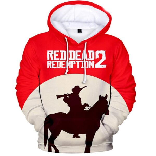 sweat à capuche red dead redemption 2 blanc et rouge