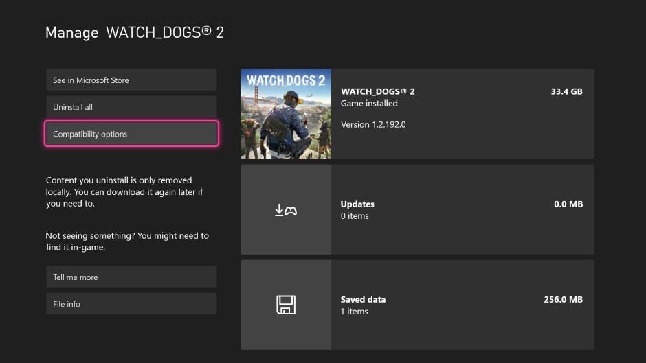 Capture d'écran de l'interface utilisateur de compatibilité arrière FPS