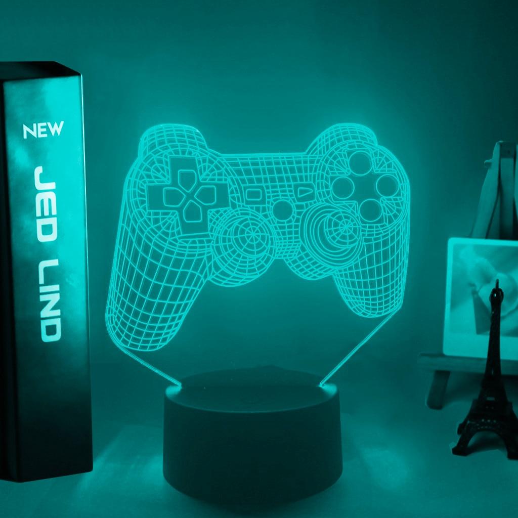 Lampe 3D Mannette de Playstation couleur bleu