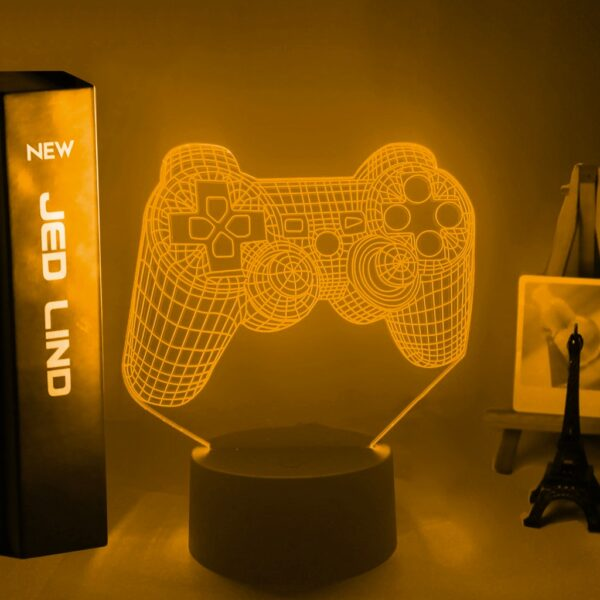 Lampe 3D Mannette de Playstation couleur orange